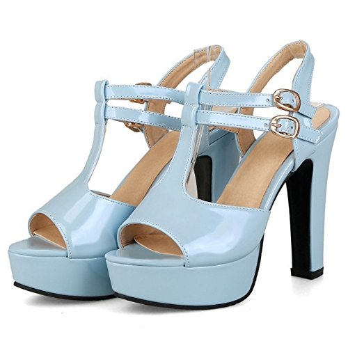 COOLCEPT Damen Mode T-Spangen Sandalen Peep Toe Slingback Plateau Blockabsatz Schuhe Blau