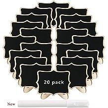 LULUNA 20pcs mini rectángulo pizarras de madera con soporte tablero de mensajes signos decoración boda/