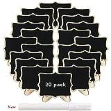 LULUNA 20pcs mini rectángulo pizarras de madera con soporte tablero de mensajes signos decoración boda/restaurante/fiesta/cocina