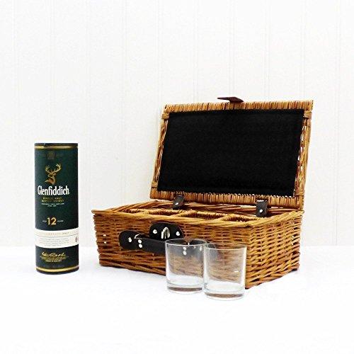 Glenfiddich Whisky im Weiden Geschenkkorb mit 4 Gläsern – Geschenkidee Zum Geburtstag, Für Den Mann, Opa, Als Danke Schön