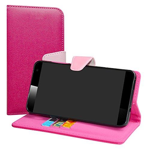 LiuShan Vodafone Smart Platinum 7 Hülle, Brieftasche Handyhülle Schutzhülle PU Leder mit Kartenfächer und Standfunktion für Vodafone Smart Platinum 7 Smartphone,Pink