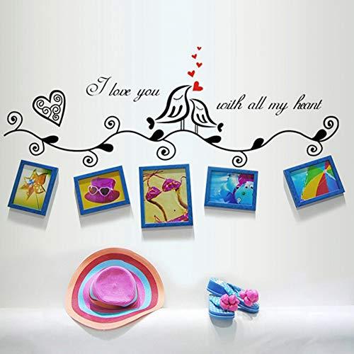 ODKEXCIch Liebe Dich Fotorahmen Wandaufkleber für Kinderzimmer Dekor niedlichen Vögel Familie Wandtattoos PVC Wand Kunst Hochzeit Dekorationen