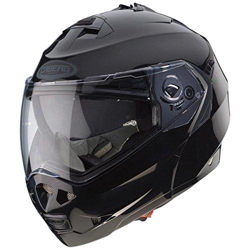 Casco modular Caberg Duke II de color negro, para motocicletas, con parasol y cierre de pines (C0IB0002)