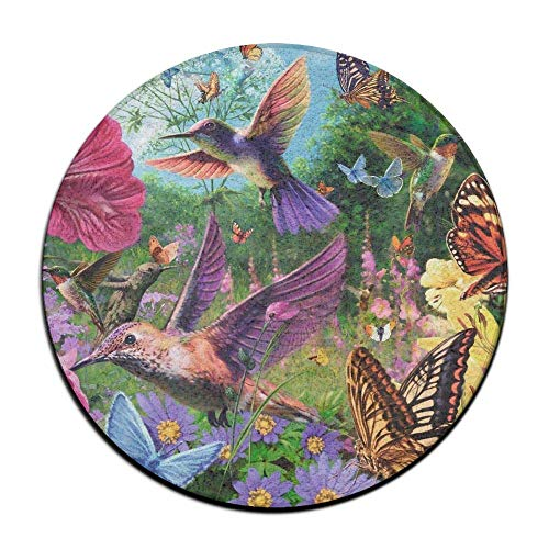 WENEOO LA Hummingbird Butterfly Flowers Garden Anti Slippery Doormats Soft Coral Velvet Pads (23.6 Inch) Kitchen Mat Round Area Rug -