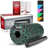 Proworks Faszienrolle aus Schaumstoff inkl. Booklet zur Triggerpunkt Selbstmassage - Massagerolle gegen Muskelschmerzen & Verspannungen - Foam Roller für Yoga & Pilates - Schwarz & Grün