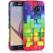 kwmobile FUNDA de TPU silicona para > Samsung Galaxy S6 / S6 Duos < Diseño arco iris dado multicolor verde azul - Estilosa funda de diseño de TPU blando de alta calidad