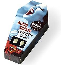 """Dientes de vampiro FXSTUFF """"Glow Edition"""" (con brillo) + cápsula de sangre falsa + masilla termoplástica (reutilizable) - brilla en la oscuridad, moldeable según las necesidades permitiendo una perfecta adhesión"""