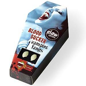 """FXSTUFF Vampirzähne leuchtend """"Glow Edition"""" + Kunstblut Kapseln + Abformmasse /Thermoplastik (wiederverwendbar) – leuchten im Dunkeln, perfekter Halt durch individuelle Anpassung"""