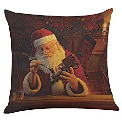 Weihnachten Weihnachtsmann Kissenbezug Sofa Home Decor KissenhüLle Dekorative Dekokissen Lendenkissen Wurfkissenbezug Packungen Kissen KissenbezüGe Quadrat Sofakissen(B)