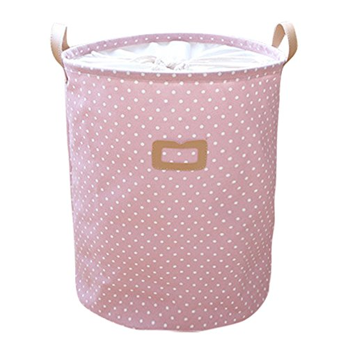 Uworth Rund Stoff Wäschekorb Laundry Punkte Faltbar Kinder Wäschebox Aufbewahrungskorb Rosa -