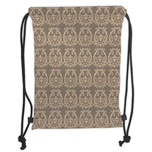 Juzijiang Drawstring Sack Backpacks Bagsaupe,Royal Victorian Botanical Design Exquisite Floral Figures Historic Pattern,Warm Taupe Sand Brown Soft Satin Closu,5 Liter Capacity,Adjustable. -