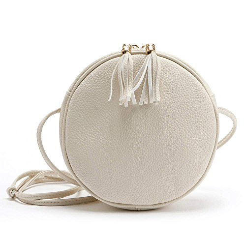 Misonz Mini PU-Leder Handtasche Schulter Umhängetasche Klein Rund Paket Damen Crossbody Taschen Klein, Damen, Grau