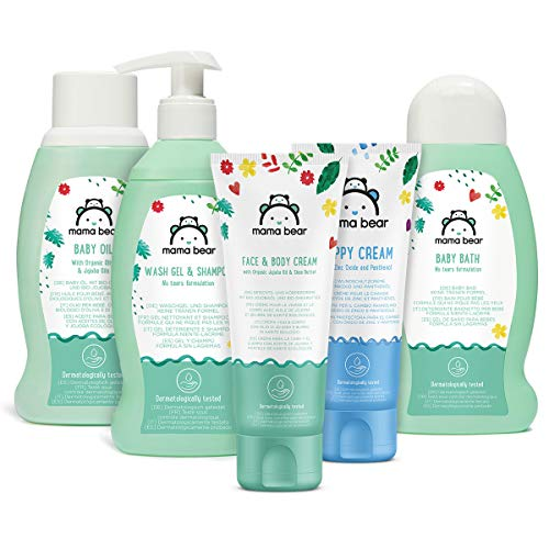 Amazon Brand - Mama Bear Mixed Bundle: Baby Bath, Shampoo, Nappy Cream, Oil, Face & Body Cream