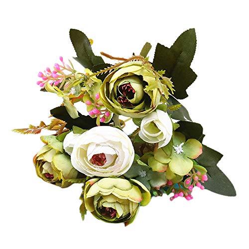 res & Deko Camellia Rose Blumen Kunstblumen Künstliche Seide Kunstblumen,Braut Hochzeit Bouquet Garten Dekor Blumenstrauß Gefälschte Blumen Unechte Blumen ()