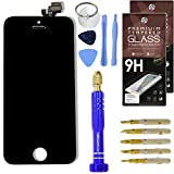 Cell Phone DIY Black Replacement Screen for Apple iPhone 5 - Complete Grade AAA Digitizer and LCD Assembly, Repair Kit Inc. Premium Repair Tools + [2x] Hardened Tempered Glass Touchscreen Protectors
