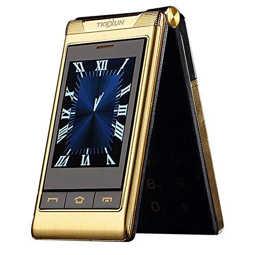 """Flip-Telefon des Alten Mannes, G10 3.0"""" Dual Dual Screen Dual-SIM-Karte Lange Standby-Touchscreen FM Senior Telefon Flip-Handy für alte Menschen (Gold)"""
