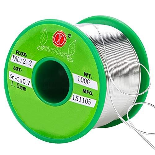SANTOO 1mm Löt Bleifreie Lötdraht lötzinn mit flussmittel,Löt Sn 99,3 Cu 0,7 Rosin 2,2 Lötdraht mit Kolophonium Kern für Elektronische Löten 100g