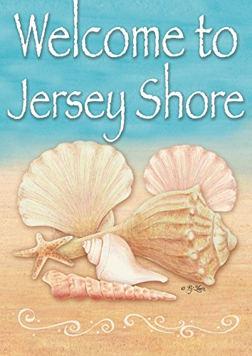 Toland Home Garden Welcome Shell Jersey Shore 31,8 x 45,7 cm Deko Muschel Strand Welcome Shells Jersey Shore House-Large-28x40-Inch