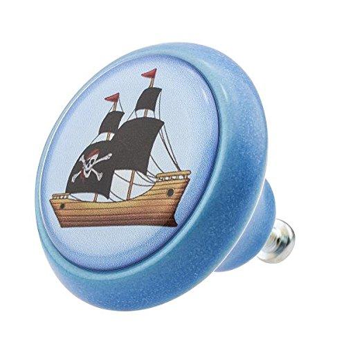 Möbelknopf Keramik 03417B Tiere Eule Pferd Pirat Schiff -