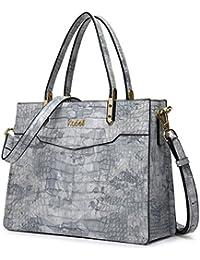 Kadell Borsa a tracolla con manico superiore per le donne con borchie a rilievo coccodrillo