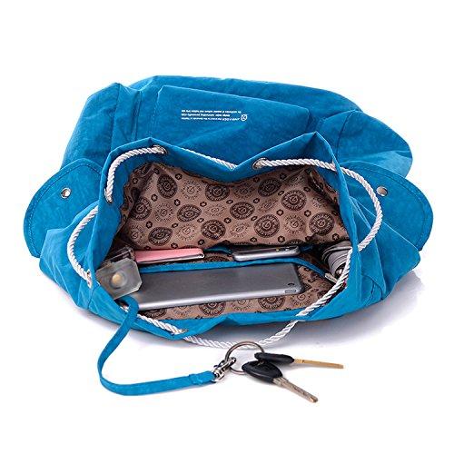 Outreo Rucksäcke Wasserdicht Schulrucksack Leichter Tasche Rucksack Damen Schultaschen Kordelzug Schul Backpack Daypack Reisetasche für Lässige Blau 2