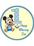Tortenaufsatz zum 1. Geburtstag, Motiv: Mickey Maus, 19 cm, rund, essbar
