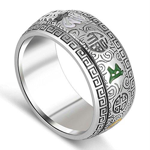 Aooaz Gioielli anelli da uomo anello argento 925 Smalto Om Mani Padme Hum Ring anelli vintage Argento