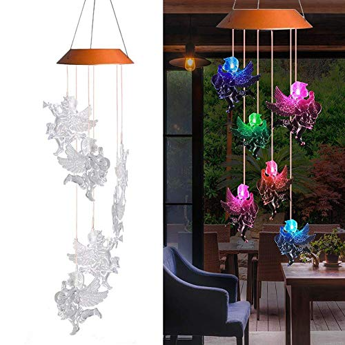 Waroomss LED Solar Windspiel, Farbwechsel Wasserdicht Sechs Engel Puppen Solar Mobile Wind Chimes Für Indoor/Outdoor Home Party Nacht Garten Dekoration