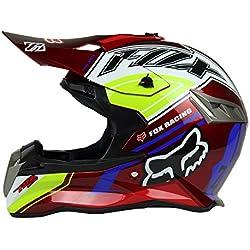 Woljay Casques motocross Casque sport moto sport double sport Saleté Bicyclette VTT (S, Rouge)