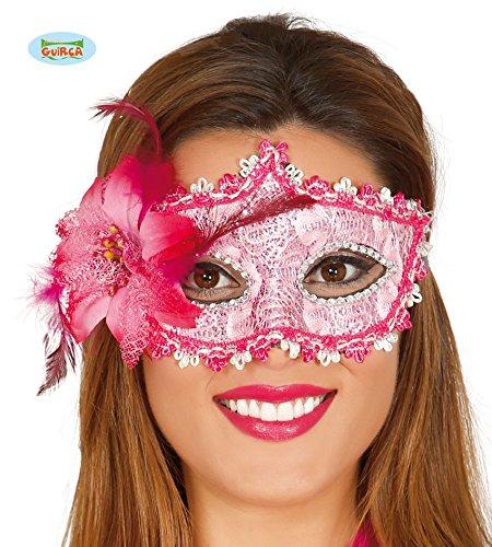 Guirca Venezianische Maske in Pink mit Silber und Glitzernd Halbmaske Fasching Party