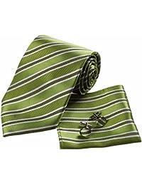 XZLP99 Eleganti Uomini Vestiti Di Business Business Vestiti Eleganti E Strisce Della Cravatta Di Seta Gemelli Fazzoletti Da Naso E Da Taschino, Verde