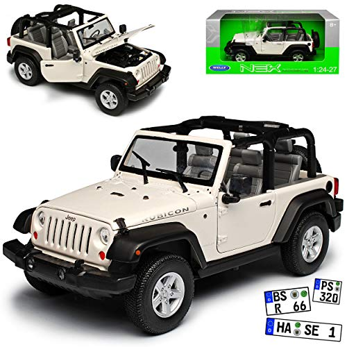 Jeep Wrangler Rubicon JK Weiss Offen 2007-2018 1/24 Welly Modell Auto - Wrangler Rubicon Jeep Modell