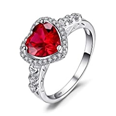 Idea Regalo - JewelryPalace Cuore Of Ocean 2.7ct Sintetico Rosso Rubino Amore Eterno Halo Promessa Anello 925 Sterling Argento 14.5