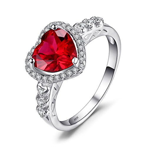 Jewelrypalace 2.48ct Herz&Liebe Luxus Tropfen Taube Blut Rot Synthetisch Rubin Ringe Massivem 925 Sterlingsilber