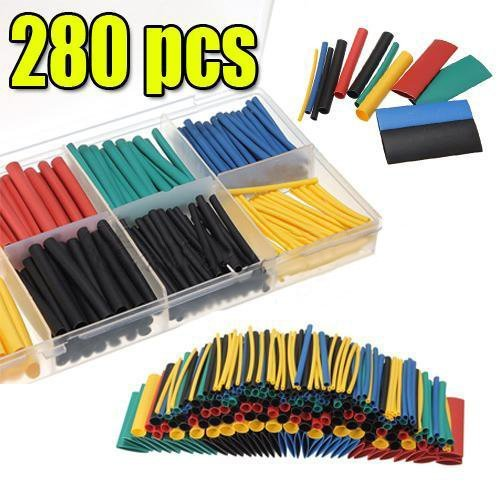 280 Pcs Heat Shrink Car Electrical Wire Cable Tubing Tube Sleeving Wrap With Box