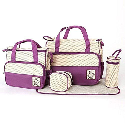 LOSORN ZPY 5teiliges Babytasche Set Wickeltaschen – Pflegetasche Tragetasche Mama Handtasche Umhängetasche Windeltasche
