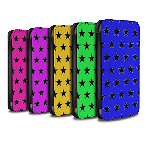 Stuff4 Coque/Etui/Housse Cuir PU Case/Cover pour Apple iPhone 4/4S / Rouge Design / Motif Étoiles Collection Pack 8pcs