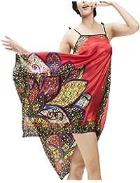Ahatech Robe de Nuit Longue Femme Sexy Style Ethnique Nuisette Satin