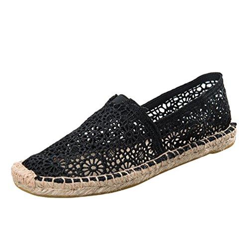 Dooxii Donna Moda Pizzo Espadrillas Basse Scarpe Slip on Flats Durevole Casuale Loafers Scarpe Nero 37(23.5cm)