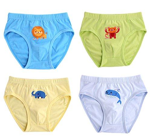 Sivice - Pack de 4 Calzoncillos Estampado León Elefante Oso para Niños Boxer de Algodón Suave Transpirable Slips con Cintura Elástica para Niños Underwear for Boys - 2 Años