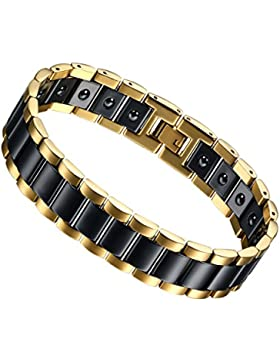 Flongo Edelstahl Magnet Therapie Kugel Perle Perlen Keramik Porzellan Armband Armreif Link Handgelenk Rechteckig...