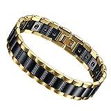 Flongo Edelstahl Magnet Therapie Kugel Perle Perlen Keramik Porzellan Armband Armreif Link Handgelenk Rechteckig Schwarz Gold Golden Gesundheit Biker Herren