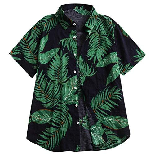 Skang Camisa Hawaiana para Hombre Original Suelto Funky Hojas Estampado con Botones Polos BlusaTops...