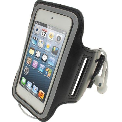igadgitz Schwarz Reflektierende Anti-Rutsch Neopren Sports Armband Oberarmtasche für Apple iPod Touch 6. Generation (Juli 2015) & 5. Generation (2012-2015)