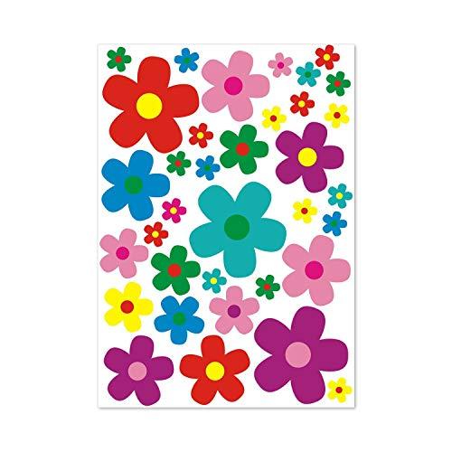 younikat Aufkleber-Set Blumen Blümchen I mehrfarbig bunt I Flower-Power Sticker für Roller Fahrrad Notebook Laptop Handy Auto-Aufkleber I wetterfest I kfz_156