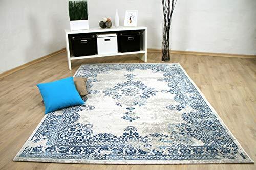 Wohnzimmer Designer Teppich Pop-Vintage Orient Blau Creme in 4 Größen