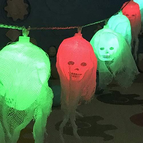 AimodonR Halloween-Lichter, 10 Halloween-Schädel-Lichter mit weißen LED-Lichtern, dekorative Lichter für Innen- / im Freien, Halloween, IP44 wasserdicht