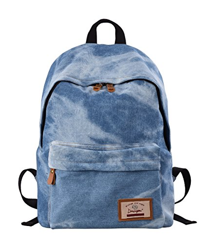 Douguyan Freizeitrucksack Canvas Rucksack Schule Daypack Hand Rucksack Notebook Damen Backpack Girls School Travel Bag Rucksack Kinder Vintage Women Reiserucksack Segeltuch Studenten Rucksack mit Muster 320 Denim (Notebook Kid)