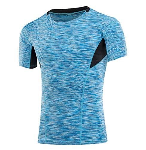 Tomatoa Männer Fitness Laufen Sport Kurzarm T-Shirt Top Shirt Rundhals Kurzarmshirt Sommer Casual Tops Herren Achselshirt Slim-Fit Sweatshirt Trainingsshirt Sportswear S - 3XL - L/s Western Shirt