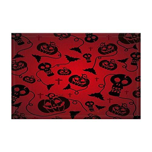 EdCott Roter beängstigender Halloween-Badeteppich-Schädel-Kürbis mit Schläger für Halloween-Festlichkeit oder Trick-Partei-Duschmatte 15.7X23.6in Fußmatte für Hauptdekor-Badezimmer-Boden-Teppich